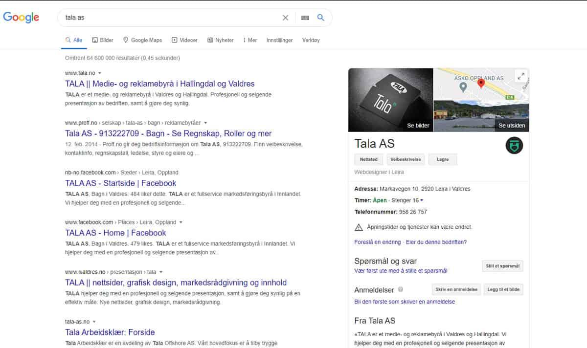 TALA i Google Min Bedrift